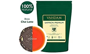VAHDAM, Hojas sueltas de té negro, 100 gramos (50 tazas) | ESPECIAS 100% NATURALES | Té negro, cardamomo, canela, clavo, almendra, azafrán | Hojas de té chai con especias
