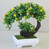 Lanyifang Pot de Fleurs Artificielles Mini Bonsaï Créatif Plante Artificielle y Compris Pot de Fleur Décoration d'Intérieur Maison Bureau (Jaune)