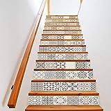 Manyo. 13 Pcs Sticker Carrelage, Stickers Escalier Carreaux Autocollants 3D- Gris de Bohême, DéCoration Murale Contremarche Escalier Adhesif en PVC 18 x 100 cm