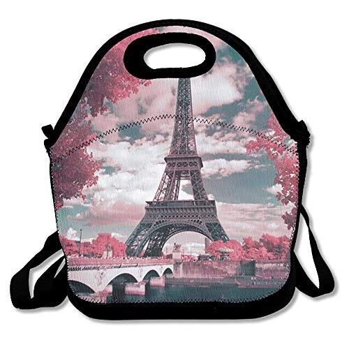France Paris Eiffel Tower Maple Leaf Landscape Lunch Bag Handbag Lunch Box Container Lunch Tote Bottle Cooler Reusable