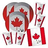 DH-Konzept 60-teiliges Party-Set Kanada - Teller Becher Servietten für 20 Personen