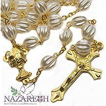 Crucifijo y Rosario collar Santo Cáliz medalla de oro Color perla granos plásticos