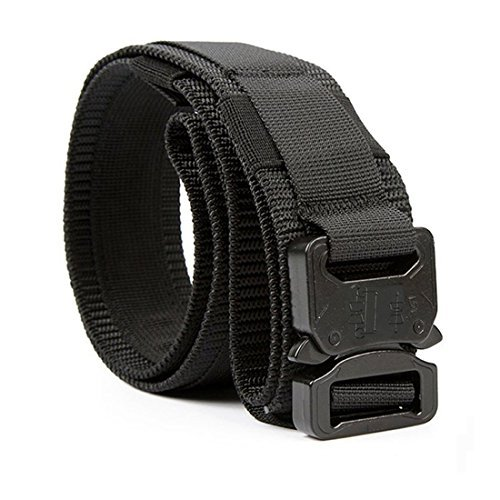 Yisibo Military Tactical Belt 1.5 Style Inches Men / Women Belts Adjustable Waist Belt with Quick Release Metal Molle Buckle System (Black, M)