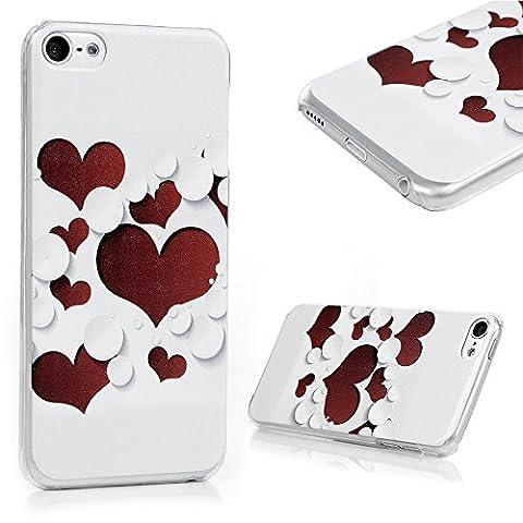 YOKIRIN Coque pour iPod Touch 5 / 6, Housse Peinture Étui PC Matière Cover Ultra Léger Créatif Exclusif de Protection de Téléphone Case Transparent - Coeur