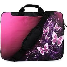 """TaylorHe 15"""" 15,6"""" Borsa in Nylon per notebook borsa a tracolla per PC portatili Laptop Sleeve Case con manici e tracolla tasche per accessori Samsung/Acer/Toshiba/Macbook farfalle, rosa, brilla"""