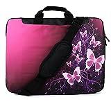 "TaylorHe Funda para portátil (15"" / 40cm) bolso de bandolera para 15""-15,6"" Laptop con bolsillos laterales para accesorios Samsung/Acer/Toshiba/Macbook, diseño de mariposas, rosa, chispas"