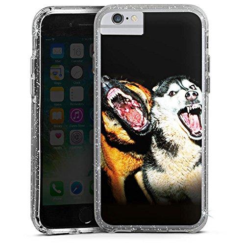 Apple iPhone 6 Bumper Hülle Bumper Case Glitzer Hülle Bellende Hunde Dog Chien Bumper Case Glitzer silber
