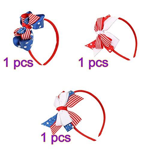 Tinksky Bandeau de drapeau américain Patriotique Head Band Independence Day Headwear Hair Hoop Filles Coiffure pour la Journée du drapeau national 3 PCS