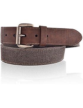 LUCHENGYI Cinturones Hombres Tela de Lona y Cuero en Marrón Vintage Casual para Pantalones Vaqueros Ancho de 40mm