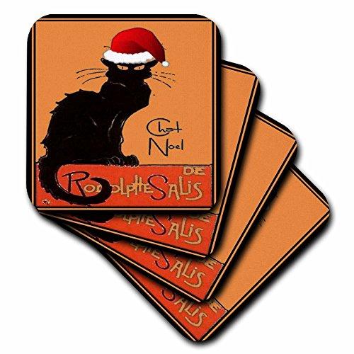 CST _ 47077taiche–Vintage Poster–Weihnachten–Le Chat Noel–Werbung, Kunst Nouveau, black cat, Katze, Katzen, Chat Noir, Le Chat–Untersetzer, Gummi, schwarz, set-of-8-Soft