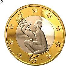 1ee6288816 Derkoly novità Rotonda Placcato Oro Sex Euro Monete da Collezione Couple  Gift Commemorative ...