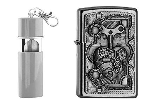 Zippo 16250 Feuerzeug mit Taschenaschenbecher, Chrom, silber, 6 x 3,5 x 2 cm