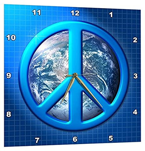 3dRose Peace on Earth Large Blue Peace Sign Over The Planet Earth - Wall Clock, 15 by 15-Inch (dpp_18146_3)