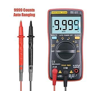 URXTRAL 9999 Anzeige Counts Auto Ranging Digital Multimeter, True RMS Multi Tester mit Hintergrundbeleuchtung Square Wave Output, Temperatur, AC/DC Spannungen und Strom, OHM, Auslastungsgrad , Kapazität Tester, Tragbar