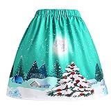 Frau Sexy Weihnachten Rock, Quaan Weihnachtsmann Aufflackern elastisch Hoch Taille Cosplay Ball Kleid Gedruckt Swing Performance Eine Linie lose Mini Lolita-Stil Klassisch Prinzessin Kostüm Kleid