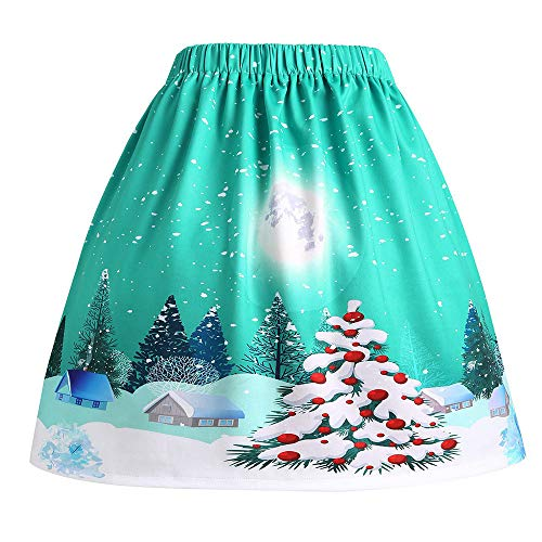 Heligen Frauen Sexy Weihnachten Damen-Weihnachts Blumen Rock Santa Printed Swing Performance A-Linie lose Rock Casual Daily Christmas Party Dinner Tutu Knielänge