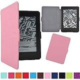 DaoRier Lederhülle, Rosa - geeignet für alle Kindle Paperwhite 1/2/3-Generationen PU Rutschfest Ledertasche+Hart Hülle Schutzhülle Leather Case mit Standfunktion Tablet Cover Mit Sleep