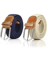 2 Piezas Cinturón Trenzado Elástico de Mujer Cinturones Hombre Elásticos  Tejidos para Jeans Pantalones e99401b74301
