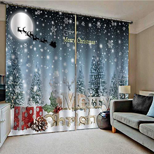 Shkdif tende 3d oscuranti snow scene christmas,tende per finestre interni oscuranti termiche isolanti con occhielli per drappeggi per interni salotto moderni cameretta170wx200h cm