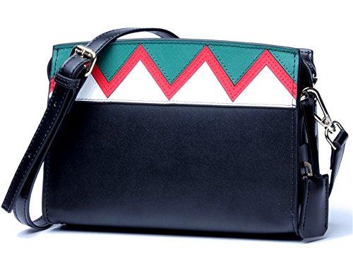 Xinmaoyuan Rosa Borse donna Spell-Color femmina geometrica Borsa diagonale ondulata con piccola borsa Picquan Tracolla blocco quadrato piccolo sacchetto di Zipper,Nero nero
