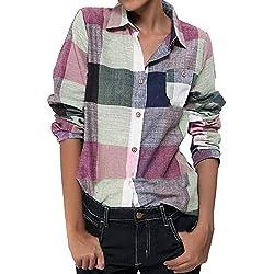 Botón de manga larga de color casual para mujer Camisa a cuadros sueltos Blusa Top Lino by BaZhaHei de Bolsillo a cuadros de algodón y camisa de manga larga para mujer camisetas manga larga para mujer