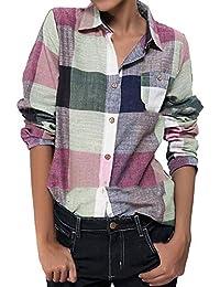 ed1c92cddd45 Amazon.es: lino - Camisetas, tops y blusas / Mujer: Ropa