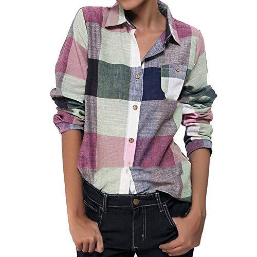 Botón manga larga color casual mujer Camisa cuadros