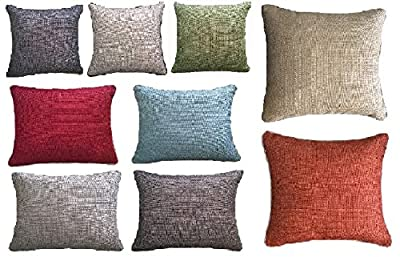 "Luxury Plain Polyester Ochre Julian Cushion Cover 18"" x 18"" - cheap UK light store."