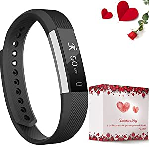 moreFit Slim Fitness Tracker with Touch Screen Best Fitness Wrist Band Pedometer Smartband Sleep Monitor Watch for Christmas Gifts, Black