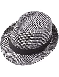 824d06f2 Vim Tree001 Men's Classic Trilby Structured Short Brim Fedora Hat with Band