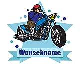 plot4u Chopper-Motorrad Wandtattoo Türschild mit Name Personalisierbar Kinderzimmer Türaufkleber Baby Wandaufkleber in 9 Größen (25x22cm Mehrfarbig)