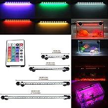 GreenSun RGB Subacuático Submarino Acuario Luces Lámpara Acuario Luces Impermeable 5050SMD LED para Acuarios de Peces y Estanques con Control Remoto 48CM Longitud