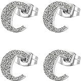 Aroncent 4PCS Damen Ohrringe, Edelstahl, Namen Alphabet Buchstaben C Charme Gestrahlte Ohrstecker, 2 Paare, Silber