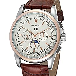Forsining Men's High-end Automatic Moon Phase Leather Strap Analogue Collection Wrist Watch FSG319M3T1