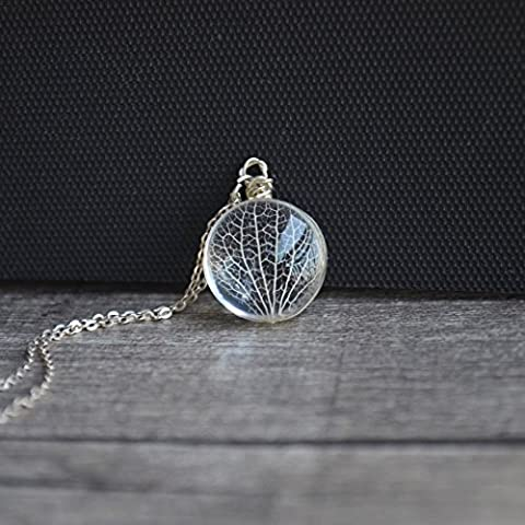 Kabbalah Arbre de La Vie Feuilles Vein Réelles Fleurs Verre 925 Sterling Argent Collier 45cm