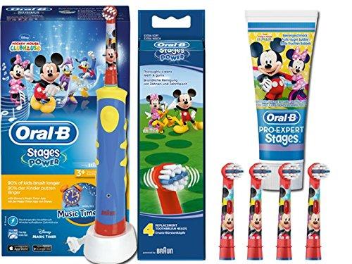 SPAR-SET: Oral-B Stages Power Kids Mickey Mouse Clubhouse elektrische Zahnbürste Kinder mit Music Timer + 2er Stages Power Bürstenköpfe + Kinderzahncreme Pro-Expert Stages Micky Minnie