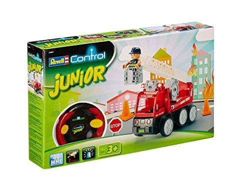 feuerwehrauto lego duplo Revell Control Junior RC Car Feuerwehr - ferngesteuertes Feuerwehr Auto mit 40 MHz Fernsteuerung, kindgerechte Gestaltung, ab 3, mit Teilen und Figur Zum Bauen und Spielen, LED-Blinklichtern - 23001