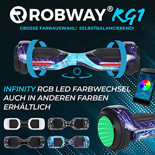 Robway RG1 Hoverboard - Das Original - Self Balance - 11 Farben - Bluetooth - 2 x 350 Watt Motoren - App (Infinity Space Blue)