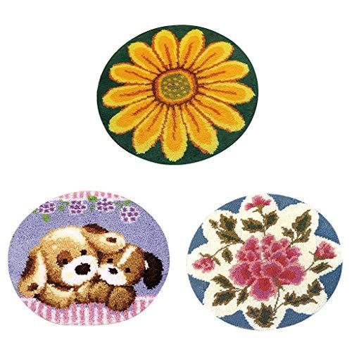 sharprepublic 3 Satz DIY Stickerei Hund Knüpfteppich Making Kit Für Anfänger Kinder -