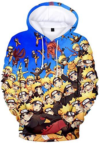 FLYCHEN Jungen Naruto Kapuzenpullover Japanese Anime Kapuzenpullover Donner Otaku Cosplay Hoodie mit Tasche(M,Trennen 5186)