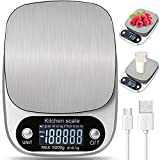 Báscula Smart Digital para Cocina con Carga USB,5kg/11lbs-0.1g Balanza Electrónica de Alta Alimentos...