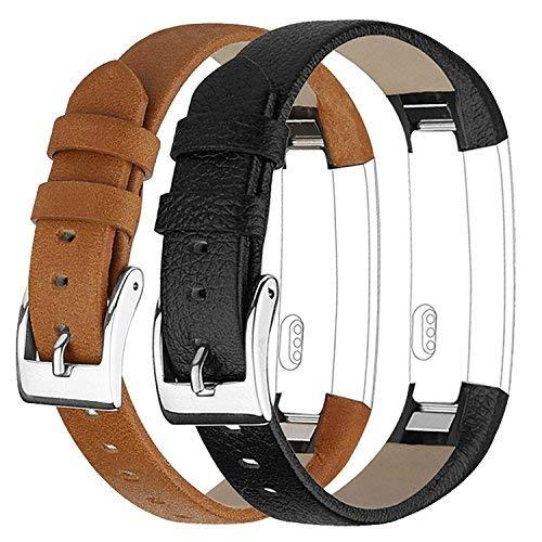 Vancle Für Fitbit Alta Alta HR Ersatz Armband, Leder Uhrenarmband Anpassbare Bequemen Fitbit Alta Ersatz Armbänder mit Edelstahl Schnalle (Kein Tracker) (2-Schwarz & Brown)