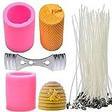 Buytra - 2 stampi per candele 3D a nido d'ape, in silicone con 50 stoppini per candele e centraggio, per realizzare candele fatte in casa, saponi, lozioni, ecc.