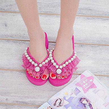 Molla di sandali Comfort PU Outdoor tacco piatto Rose Pink