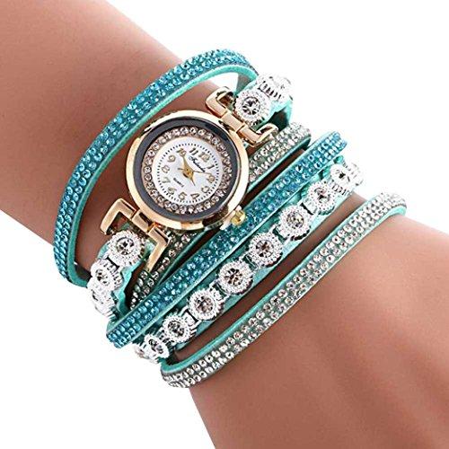 Damen Uhren, Keepein Frauen Moden Quarzuhr Casual PU Leder Armbanduhr Luxury Strasssteine Analoge Uhr(SB)