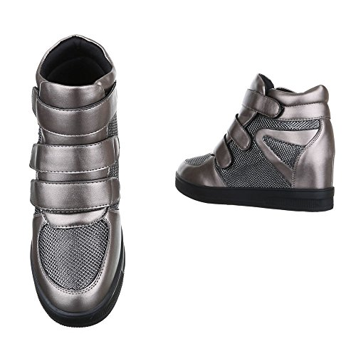 Keilstiefeletten Damen Schuhe Plateau Keilabsatz/ Wedge Klettverschluss Klettverschluss Ital-Design Stiefeletten Silber Grau