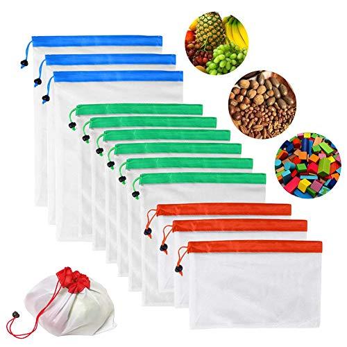 Mesh-kordelzug-verschluss (12Multifunktions-wiederverwendbar Mesh Tasche 3Größen Umweltfreundlich Kordelzug Lebensmittels Aufbewahrungstasche für Obst Gemüse Toys)