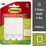 Command 17201P-ES Medium Picture Hanging, White, 3 Sets of Strips/Pack, 18 Pairs