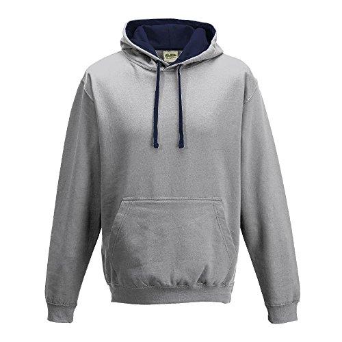 Just Hoods Varsity Sweat à capuche avec capuche couleur contrastée grey - Heather Grey/French Navy