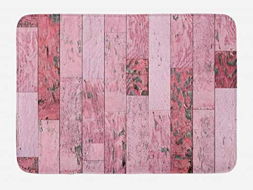 BUZRL Wood Print Bath Mat, Pastel Pink Rustic Planks with a Distressed Look Barn House Cottage Theme, Plush Bathroom Decor Mat with Non Slip Backing, 23.6 W X 15.7 W Inches, Pink Cottage Rose Natural Wood